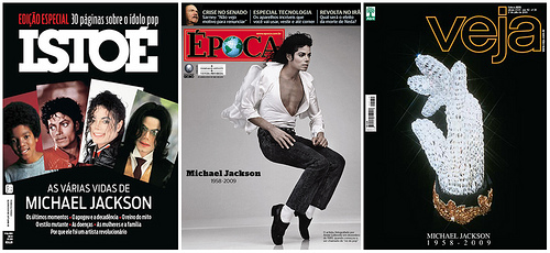 Brazilian weekly magazine covers about Michael Jackson by Crystian Cruz, under Creative Commons license on flickr.com