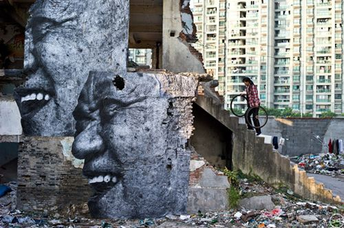 JR's Wrinkles in the City project in Shanghai, China. Photo courtesy of JR and BasilicStudio aKkY